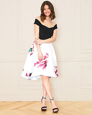 Floral Print Matte Satin High-Low Dress