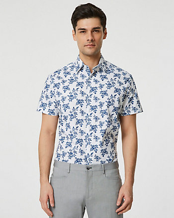 Floral Cotton Poplin Short Sleeve Shirt