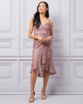 Glitter Lace V-Neck High-Low Dress