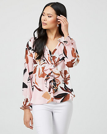 Floral Print V-Neck Ruffle Blouse