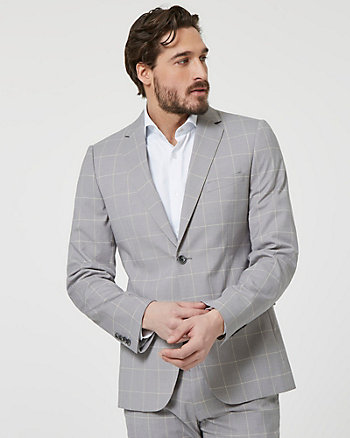 Windowpane Check Viscose Blend Blazer
