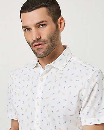 Stretch Cotton Poplin Popsicle Print Shirt