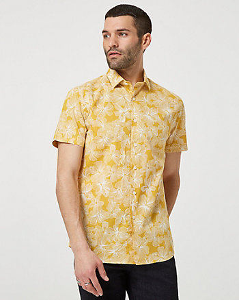 Floral Print Cotton Short Sleeve Shirt
