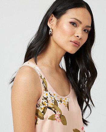 Floral Print Crêpe de Chine & Knit Blouse