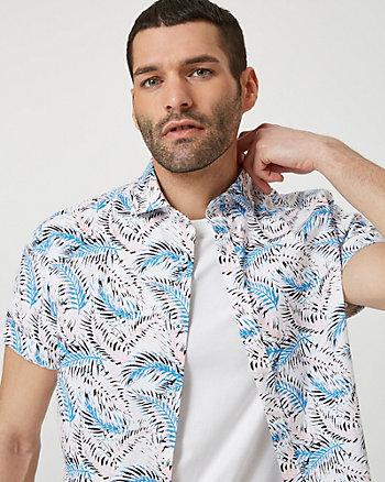 Chemise à motif tropical en coton
