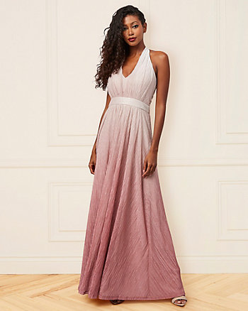 Ombré Metallic Knit Halter Neck Gown