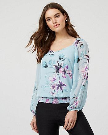 Floral Print Smocked Chiffon V-Neck Blouse