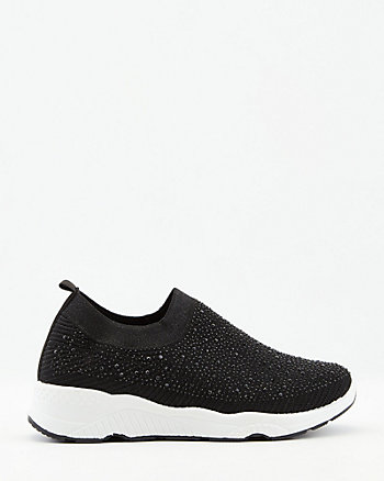 Jewel Embellished Knit Slip-On Sneaker