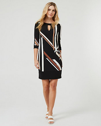 Geo Print Crew Neck Tunic Dress