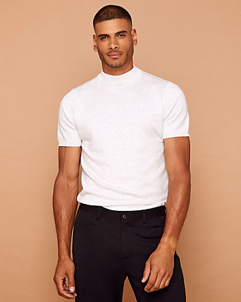 Jersey Mock Neck Short Sleeve Sweater