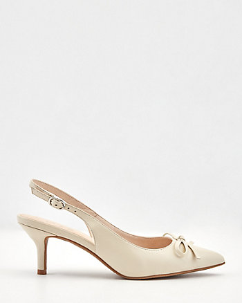 Leather Pointy Toe Slingback Pump