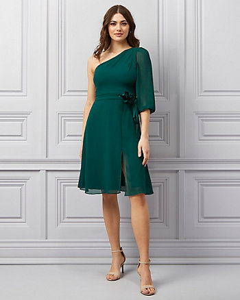 Crêpe Chiffon One-Shoulder Dress
