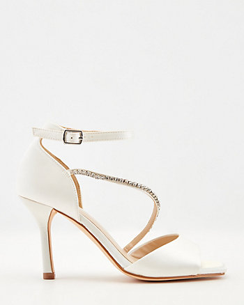 Satin Jewel Embellished Square Toe Sandal