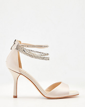 Satin Jewel Embellished Square Toe Sandal