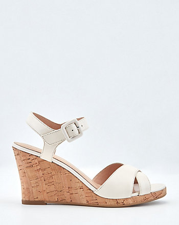 Leather Cork Wedge Sandal