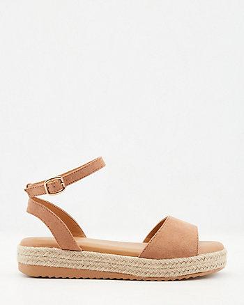 Faux Suede Flatform Espadrille Sandal