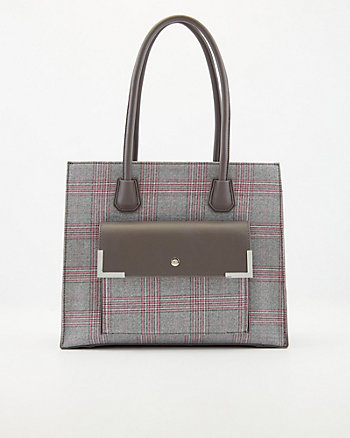 Check Print Faux Leather Tote