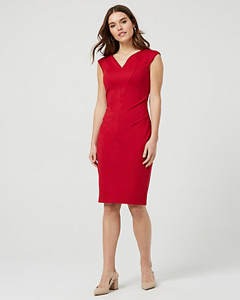 Stretch Ponte Knit V-Neck Dress