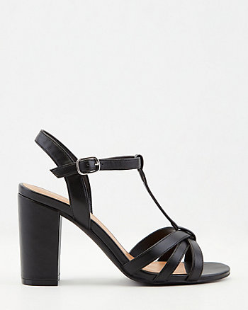 Faux Leather T-Strap Block Heel Sandal