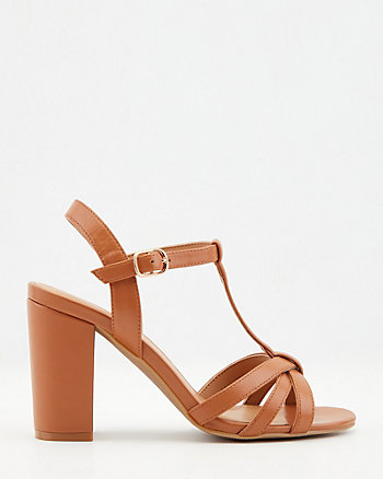 Faux Leather T-Strap Block Heel Sandal