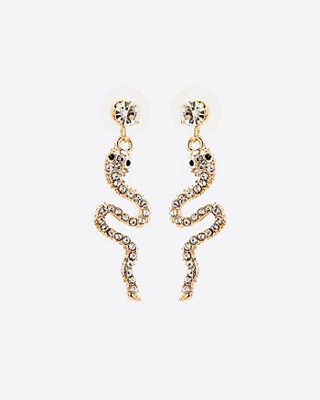 Pendants d'oreilles serpent ornés de pierres