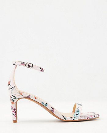 Floral Print Faux Leather Square Toe Sandal