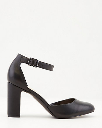 Leather Almond Toe Ankle Strap Pump