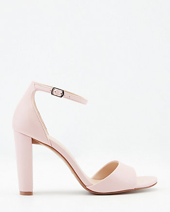 Faux Leather Block Heel Ankle Strap Sandal