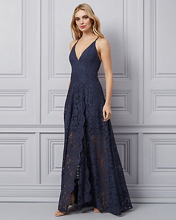Corded Lace Wrap-Like Gown