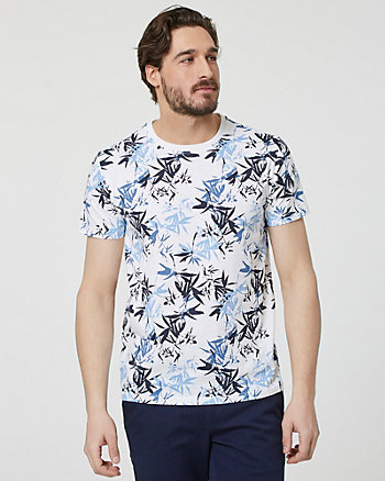 Abstract Print Cotton Crew Neck T-Shirt