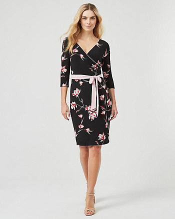Reversible Floral Print Knit V-Neck Dress