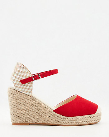 Faux Suede Espadrille Wedge Sandal