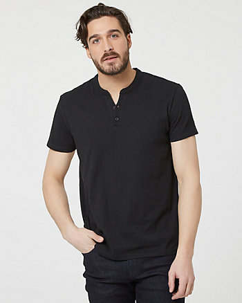 Cotton Slub Henley Button-Front T-Shirt