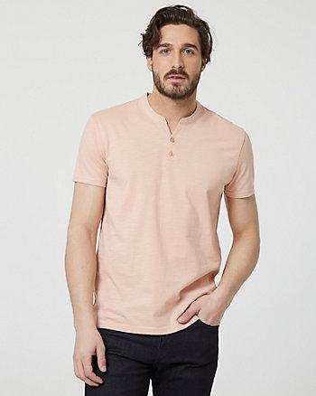 Cotton Slub Henley Button-Front T-Shirt