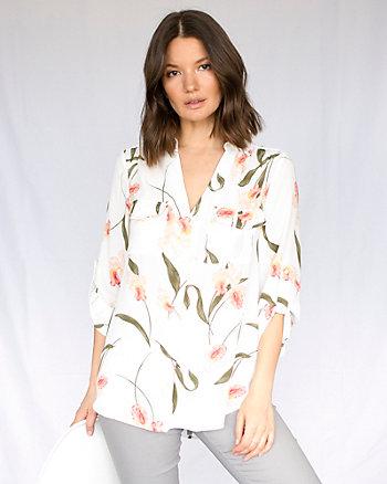 Floral Print Crêpe de Chine Tunic Blouse