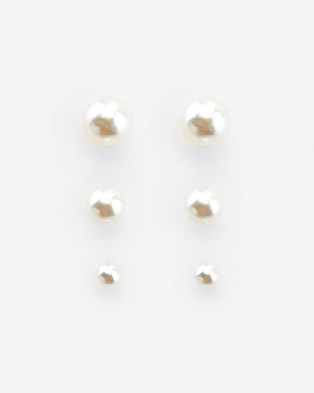 Faux Pearl Stud Earrings Set