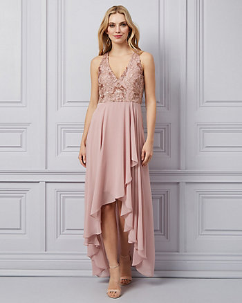 Embroidered Sequin & Chiffon V-Neck Gown