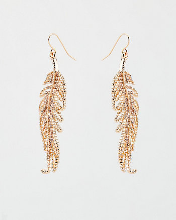 Gem Encrusted Feather Drop Earrings