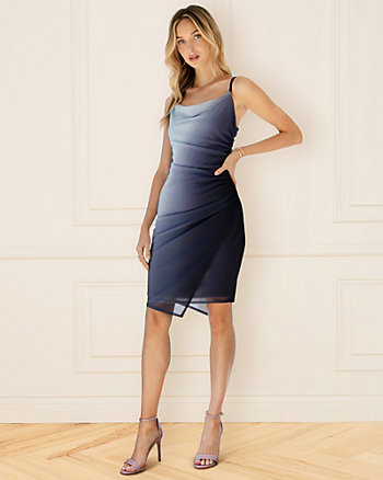 Ombré Knit Cowl Neck Dress