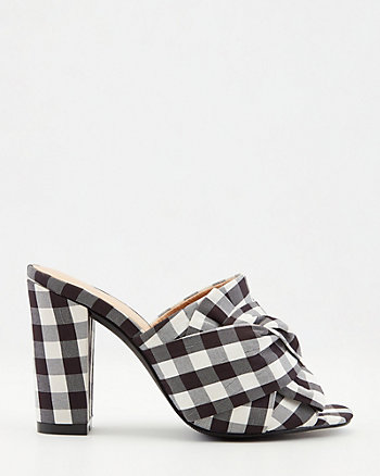 Check Print Block Heel Slide Sandal
