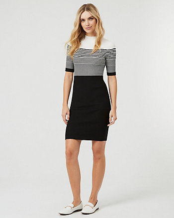 Stripe Rib Knit Mock Neck Sweater Dress