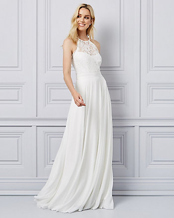 Lace Halter Neck Illusion Gown