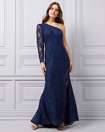 Corded Lace One Shoulder Gown