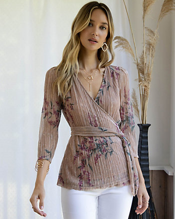 Blouse à motif floral en tricot scintillant