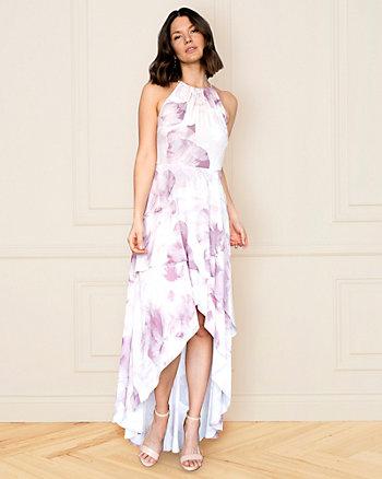 Floral Print Crêpe de Chine Gown