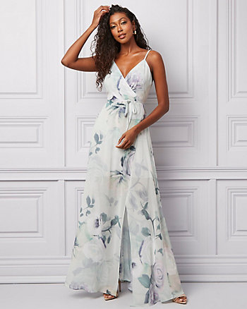Floral Print Chiffon V-Neck Gown