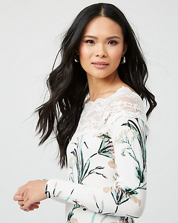 Floral Print Lace & Knit Boat Neck Top