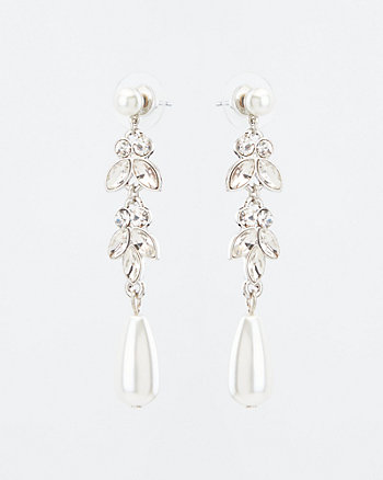 Faux Pearl Gem Encrusted Drop Earrings
