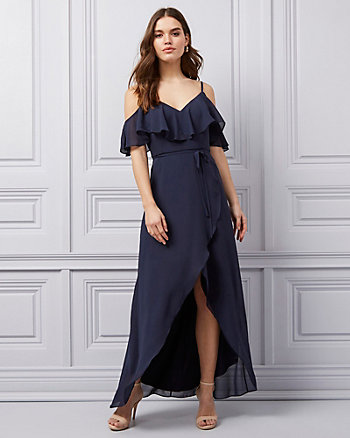 Crêpe Chiffon Cold Shoulder Ruffle Gown