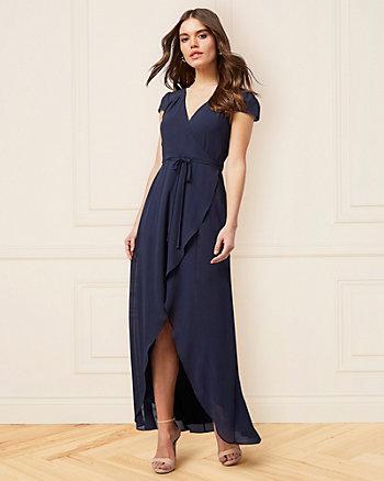 Chiffon Wrap-Like High-Low Gown